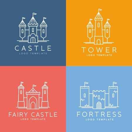cavaliere medievale: Estratto Castello linea Style Vector Logo Template Set