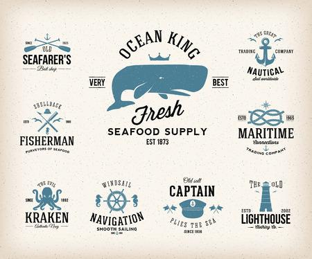 baleine: Étiquettes nautiques Vintage