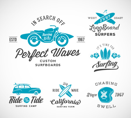 Retro Style Surfing Labels Vectores