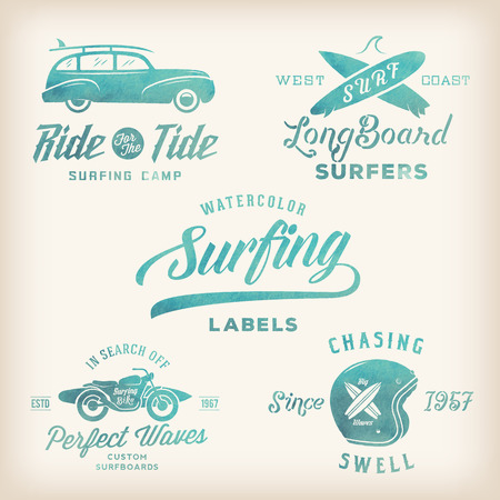 Watercolor Retro Style Surfing Labels