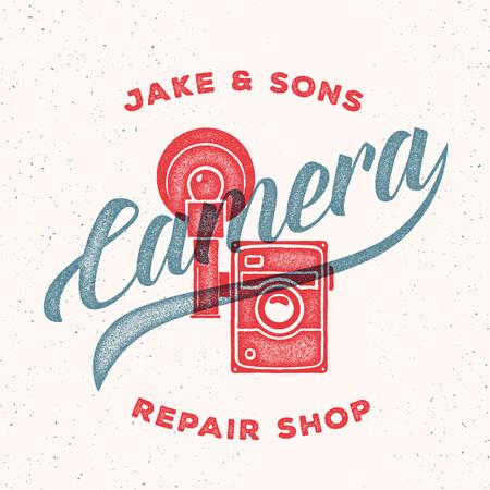 print shop: Retro Print Camera Repair Shop Logo or Label Illustration