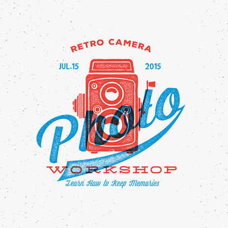 camera: Retro Camera Photo Workshop Label or Logo Template with Typography