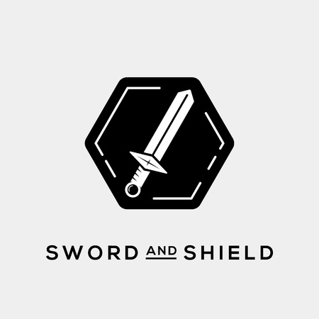 espadas medievales: Espada y Escudo Resumen Vector plantilla logotipo o icono Vectores