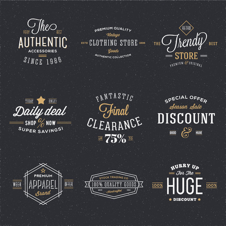 Retro Typography Vector Discount and Sale Labels or Logo Templates with Vintage Background