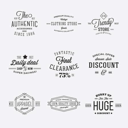 Retro Typografie Vector korting en verkoop etiketten of Logo Templates Isolated Stock Illustratie