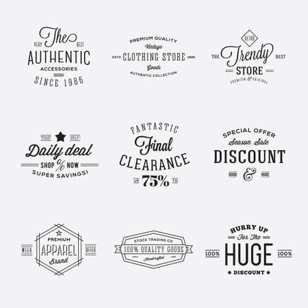 Retro Typography Vector Discount and Sale Labels or Logo Templates Isolated