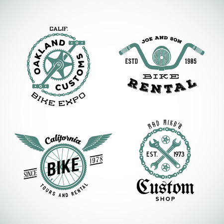 Set of Vector Retro Bicycle Custom Labels or Logos