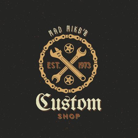 Retro Vector Bicycle Custom Shop Label of Logo Design