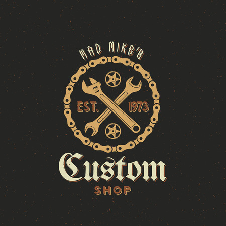 garages: Retro Vector Bicycle Custom Shop Label or Logo Design