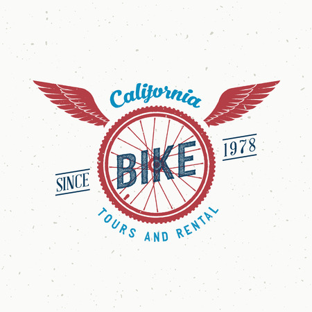 Retro Vector Bicycle Tours en Verhuur label of Logo Design