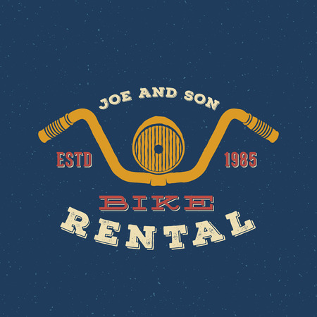 bicicleta vector: Retro Vector Bike Rental etiqueta o logotipo Diseño