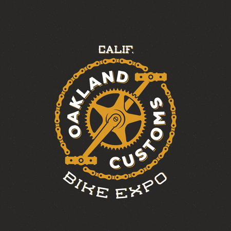 badge logo: Retro Vector Bike Custom Show Expo Label or Logo Design Illustration