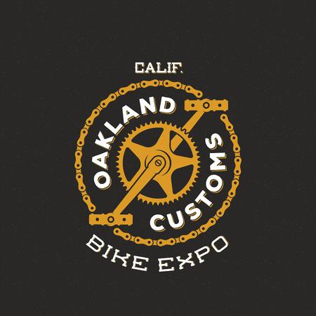 bicicleta retro: Retro Vector Custom Bike Expo Mostrar etiqueta o logotipo Diseño
