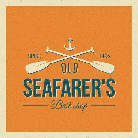paddle: Vintage Nautical Vector Label or Logo with Retro Print Look