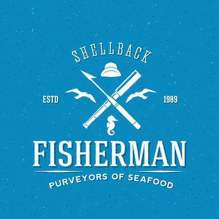 Retro Fisherman Vector Logo or Label Template