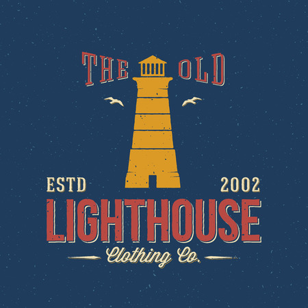 t shirt print: The Old Lighthouse Clothing Co. Nautical Abstract Vector Retro Label or Logo Template