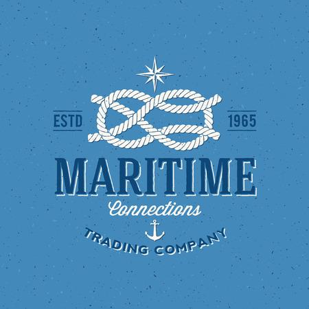 pescador: Empresa Navy Retro Trading vectorial Label o Plantilla Logo Vectores