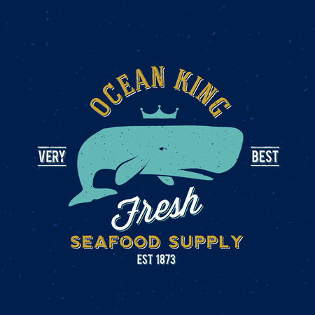 Ocean King Seafood supplyer Retro Vector label of Template Logo Stock Illustratie