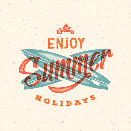 t background: Retro Style Summer Card, Emblem, or a Logo Template