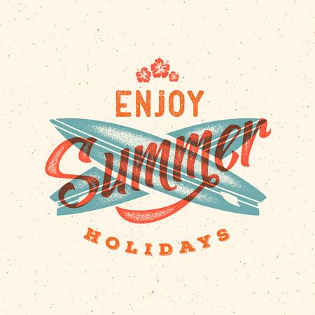t shirt blue: Retro Style Summer Card, Emblem, or a Logo Template