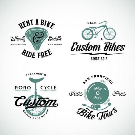 bicicleta: Conjunto de vector retro de encargo de bicicletas y etiquetas o logotipo plantillas Alquiler