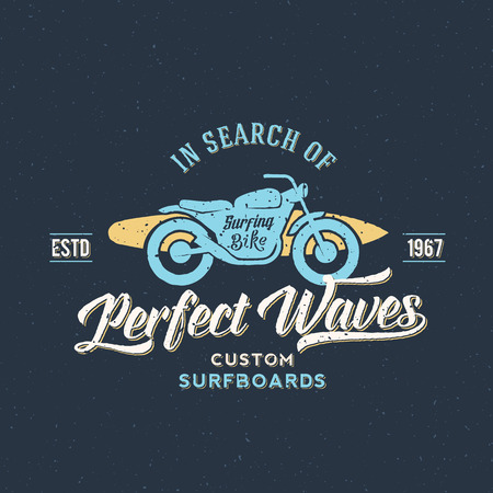 Perfect Waves Bike with Surfboard Abstract Retro Vector Label or Logo Template Ilustração
