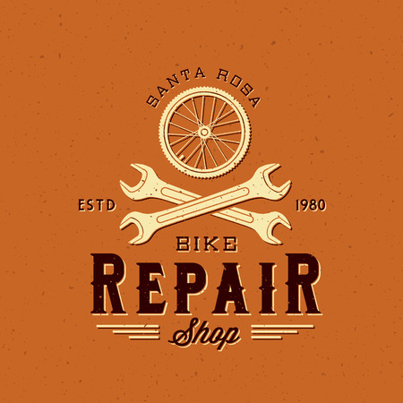 bycicle: Retro Bycicle Repair Vector Label or Logo Template