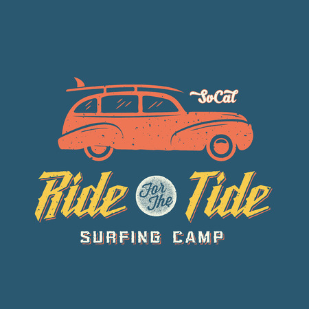 surfing: Surfing Woodie Car Retro Style Label or Logo Template