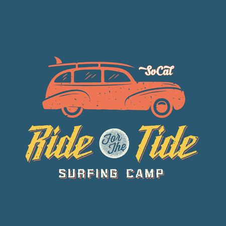 malibu: Surfing Woodie Car Retro Style Label or Logo Template