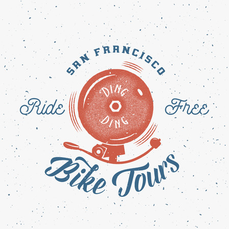 Bycicle Bell Abstract Retro Vector Label or Logo Template