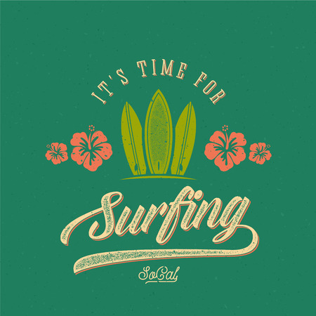 malibu: Vector Retro Style Surfing Label, Logo or T-shirt Graphic Design Featuring Surfboards and Flowers with Shabby Texture.