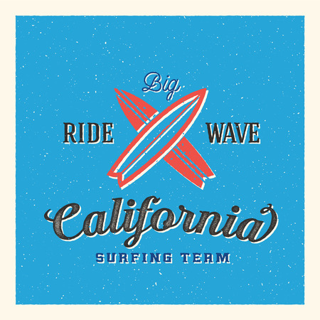 California Surfing Team Abstract Vector Label or Logo Template