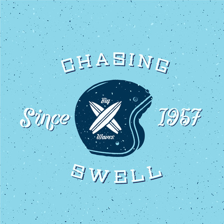 malibu: Chasing Swell Abstract Retro Surfers Vector Label or Logo Template Illustration