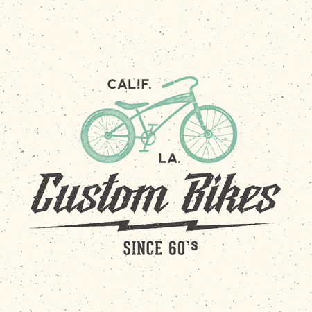 bicycle wheel: Custom Bicycle Retro Vector Label or Logo Template