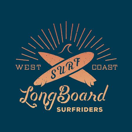 Long Board Surf Riders Zusammenfassung Retro Vector Etikett oder Logo-Vorlage Standard-Bild - 39318903