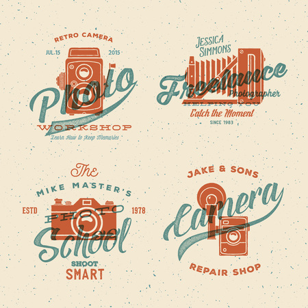 Camera Photography Vector Labels or Logos with Vintage Typography and Retro Print Effect. Textured Background. Vettoriali