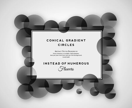 horisontal: Retro Frames Like Abstract Horisontal Vector Background. Victorian Style Imitation with Conical Gradient Circles Instead of Flowers. Clear Typography and Soft Shadows. Isolated.