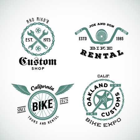 Set of Vector Retro Bicycle Custom Labels or Logos Isolated.