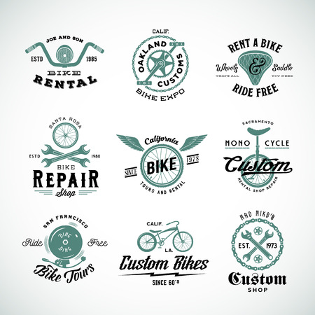 Retro Bicycle Vector Labels or Logo Templates Set Vettoriali