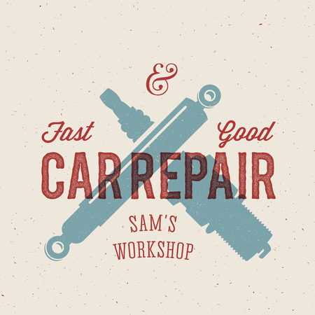 spare car: Retro Car Repair Label or Logo Template