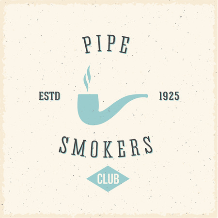 tobacco pipe: Pipe Smokers Club Abstract Vintage Label or Logo Template