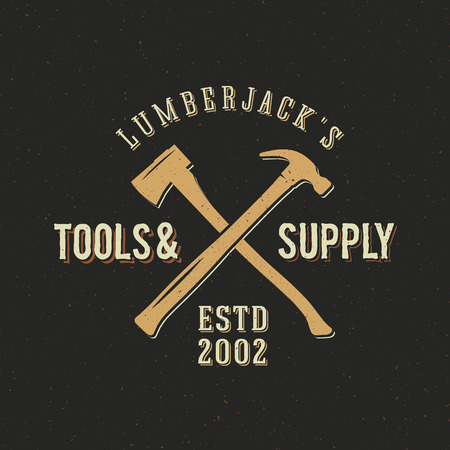 lumberjack: Lumberjack Tools and Supply Abstract Vintage Label or Logo Template