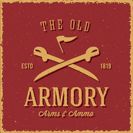 sabre's: Old Armory Arms and Ammo Abstract Vintage Label, Card, or Logo Template