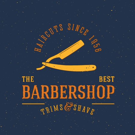 grunge textures: Barbershop Vector Vintage Label or Logo Template with Retro Typography and Grunge Shabby Textures