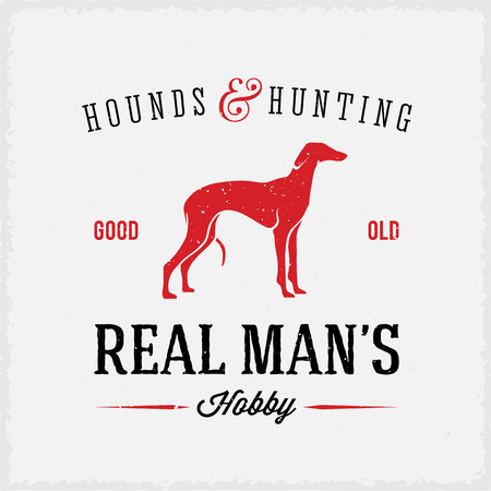 sharpshooter: Hounds and Hunting Real Mans Hobbies Abstract Vintage Label or Logo Template Illustration