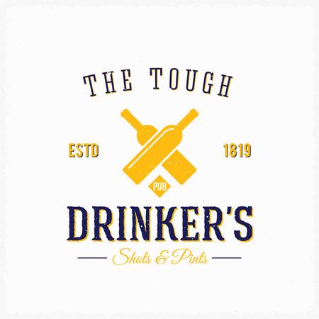 logos restaurantes: Botellas Bebedor Pub vector abstracto arte de la etiqueta o plantilla Logo