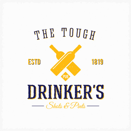 t bar: Drinker Pub Bottles Abstract Vector Vintage Label or Logo Template