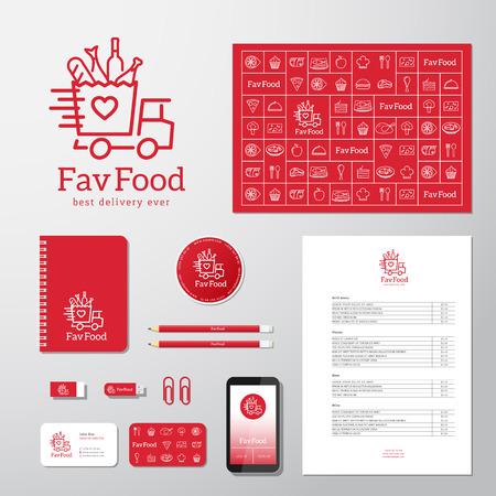 negocios comida: Comida favorita entrega Abstract Vector Icon Concept o Plantilla Logotipo con Identidad Corporativa y Papelería