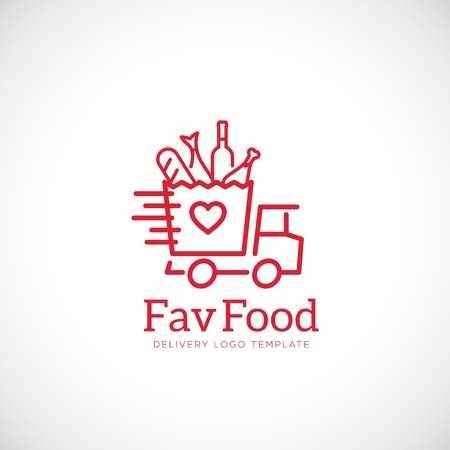 Favorite Food Delivery Abstract Vector Concept Icon or Logo Template Çizim