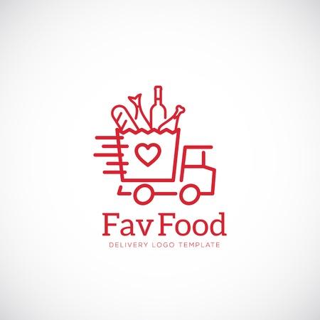 logo poisson: Plat préféré Livraison Abstract Vector Concept icône ou Logo Template